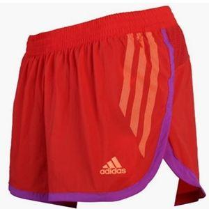 Adidas AdiZero Split Shorts Orange Lined Small